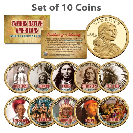 FAMOUS NATIVE AMERICANS Colorized Sacagawea Dollar 10-Coin Complete Set (Native American Indian Porcelain)