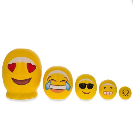 Emoji Wooden Nesting Dolls - In Love, Laughing, Cool Sunglasses, Grin 4 Inches - Cool Glasses Emoji