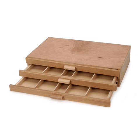 Darice 3 Drawer Pastel Storage Boxes - Wood - Brown - 15.5x9 inches
