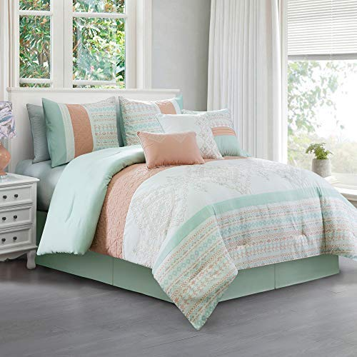 Laura 7 Piece Coral Mint Geometric Embroidered Pleated Striped Comforter Set