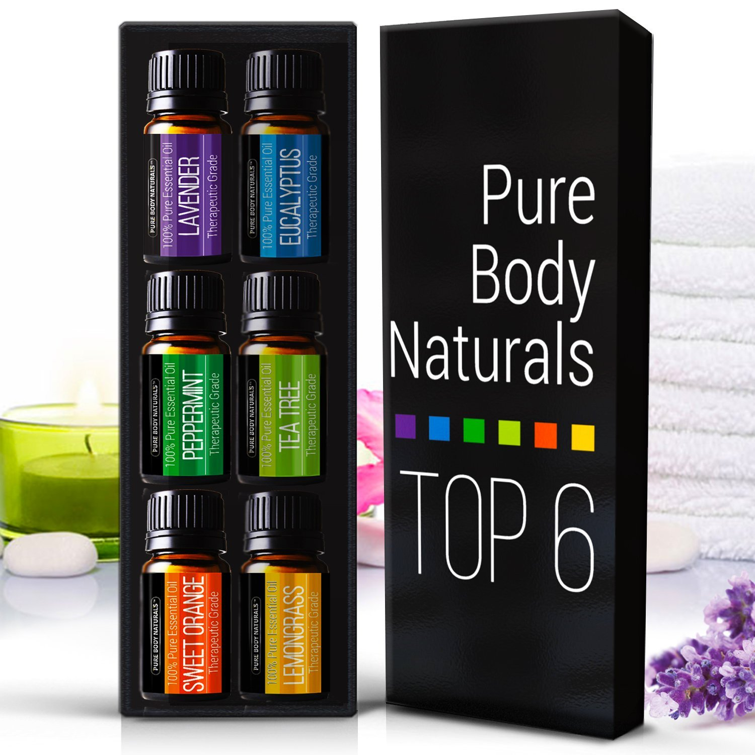 Pure Body Naturals Aromatherapy Top 6 Essential Oils