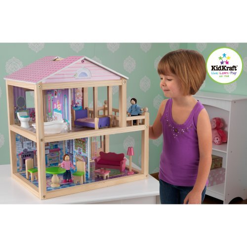 KidKraft My Pretty Petal Dollhouse with Dollhouse Family
