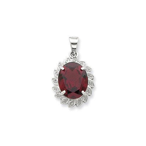 Jewelryweb Sterling Silver Rhodium Garnet and Diamond Pendant