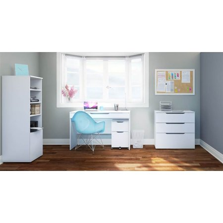4-Pc Eco-Friendly Home Office Set in White (Eco Cart)