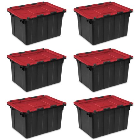Sterilite 12 Gallon/45 Liter Hinged Lid Industrial Tote (6 Pack) | 14619006