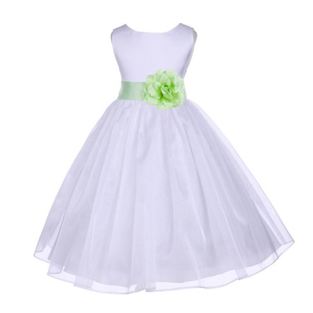 Ekidsbridal White Shimmering Organza Christmas Party Formal Bridesmaid Recital Easter Holiday Wedding Pageant Communion Princess Birthday Clothing Toddler Baptism 841S Flower Girl Dress](Christmas Themed Dresses)