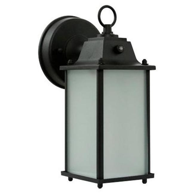 Efficient Lighting EL-102-123 Timeless Outdoor Wall Lantern  Die Cast Aluminum  Powder Coated Black  Frosted Glass with Built-in photocell  Energy Star Qualified