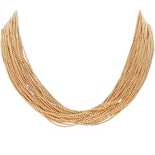 "Humble Chic Women's Multistrand Statement Necklace Gold-Tone 19"" Slim Chain Beaded Waterfall Bib, Go"