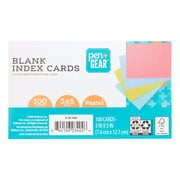"""Pen + Gear Unruled Index Cards, Assorted Pastel Colors, 100 Count, 3"""" x 5"""""""