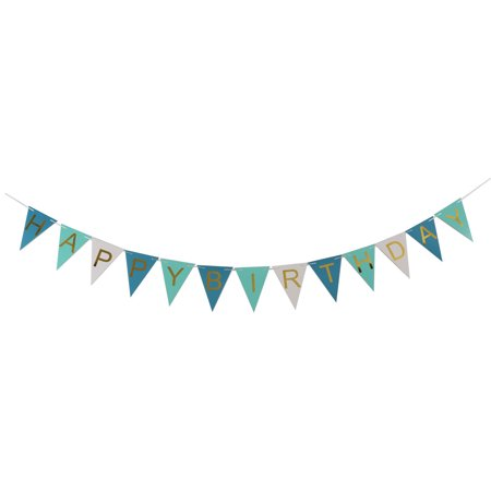 HAPPY BIRTHDAY Letter Print Triangle Shaped Party Photo Prop Banner Blue - Printed Banners