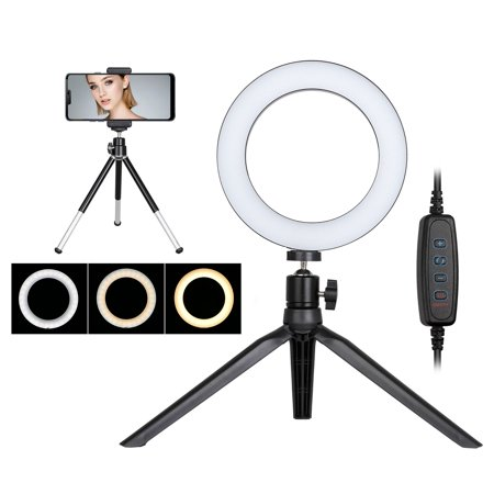 """LED Ring Light with Tripod Stand, TSV 6"""" Mini LED Camera Selfie Ring Light with Cell Phone Holder Desktop LED Lamp for YouTube Video and Makeup with 3 Light Modes & 10 Brightness Level"""