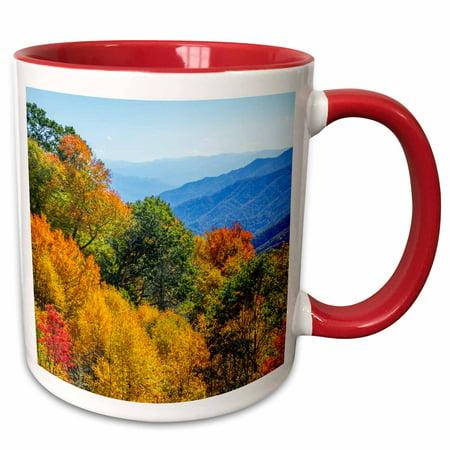 3dRose North Carolina, Great Smoky Mountains National Park - Two Tone Red Mug, 11-ounce