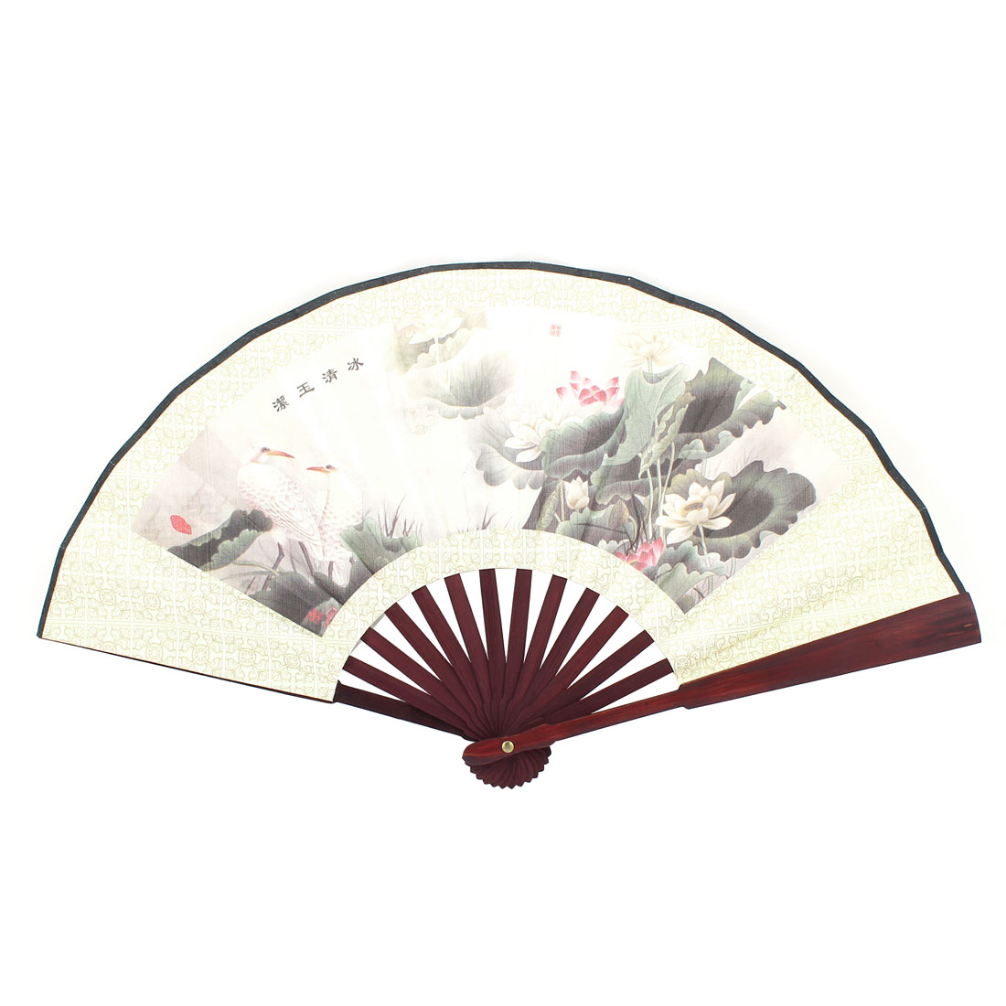 Summer Beige Fabric Bamboo Lotus Printed Portable Foldable Pocket Hand Fan