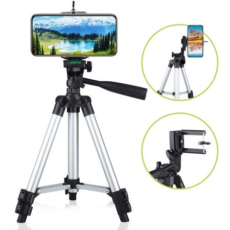 Professional Camera Tripod Stand Mount + Phone Holder for Cell Phone iPhone 11/11 Pro XS XR X 8 7 6 6S Plus Samsung Galaxy Note S10/S10E/ 9/8 S9 S8 S7 S6 Edge(Plus), LG G7/G6 ()