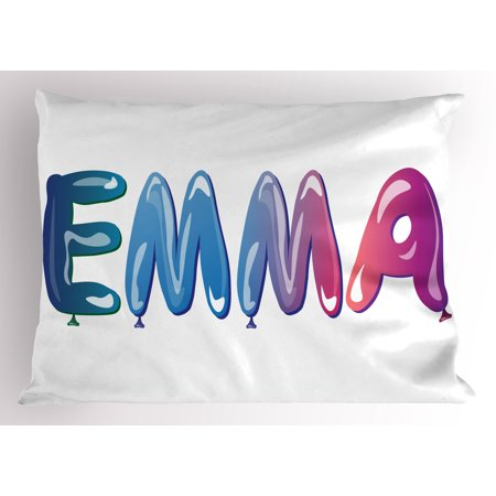 Emma Pillow Sham Feminine Girl Name Design with Ornate Balloons Mainstream Female Themed Illustration, Decorative Standard Size Printed Pillowcase, 26 X 20 Inches, Multicolor, by Ambesonne