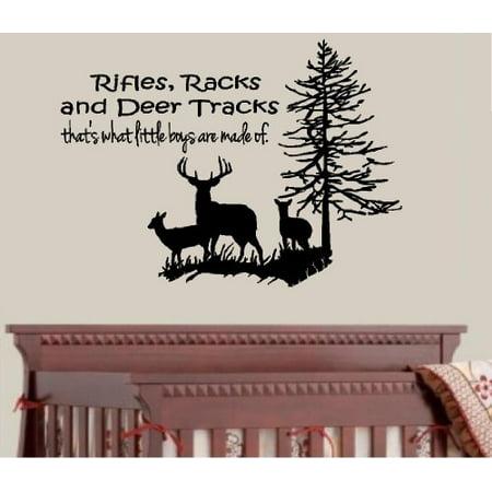 Decal ~ RIFLES RACKS AND DEER TRACKS #4: DEER FAMILY TREE ~ WALL DECAL 22