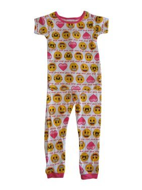 Product Image Emoji Girls White Pink Print Short Sleeve 2 Pcs Pajama Set dcf6caba2