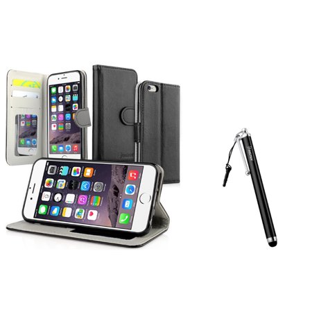 online store d5d90 0f755 Insten Black Wallet Card Holder Leather Cover Case+Stylus For iPhone ...