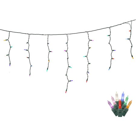 70 Multi Color LED Lights / Green Wire 9Ft. Icicle