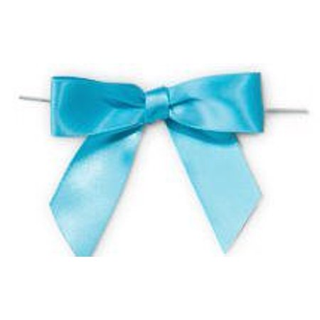 Sky Blue Satin Twist Tie Food & Party Favor Treat Bags Packaging Bows - Bow Tie Favors