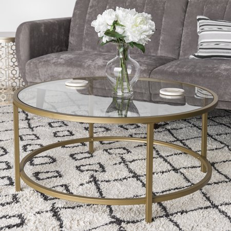 Best Choice Products 36in Round Tempered Glass Coffee Table w/ Satin Gold Trim for Home, Living Room, Dining