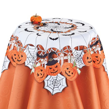Halloween Table Runner Crochet Pattern (Collections Etc Halloween Party Pumpkins and Bats Table Topper)