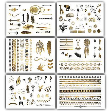 New School Halloween Tattoo Designs (Terra Tattoos Temporary Tattoos - Over 125 Minimalist Metallic Tattoo)