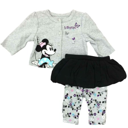 Infant Toddler Girls Minnie Mouse Button Up Outfit Floral Legging Outfit 0/3M](Baby Minnie Mouse Outfit)