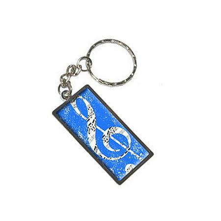 Clef Key - Vintage Treble Clef Music Blue Metal Rectangle Keychain