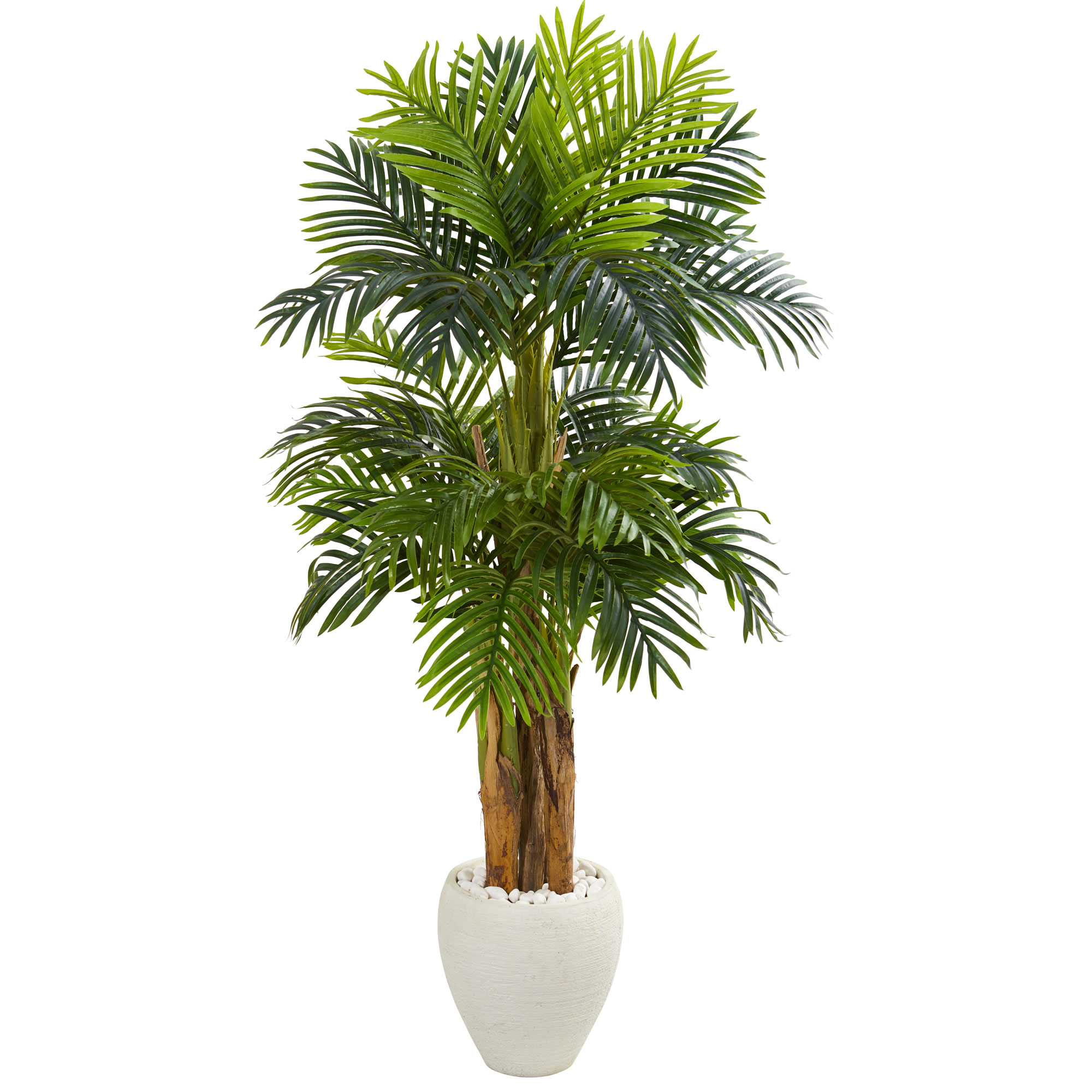 Nearly Natural 5.5' Triple Areca Palm Artificial Tree in White Planter