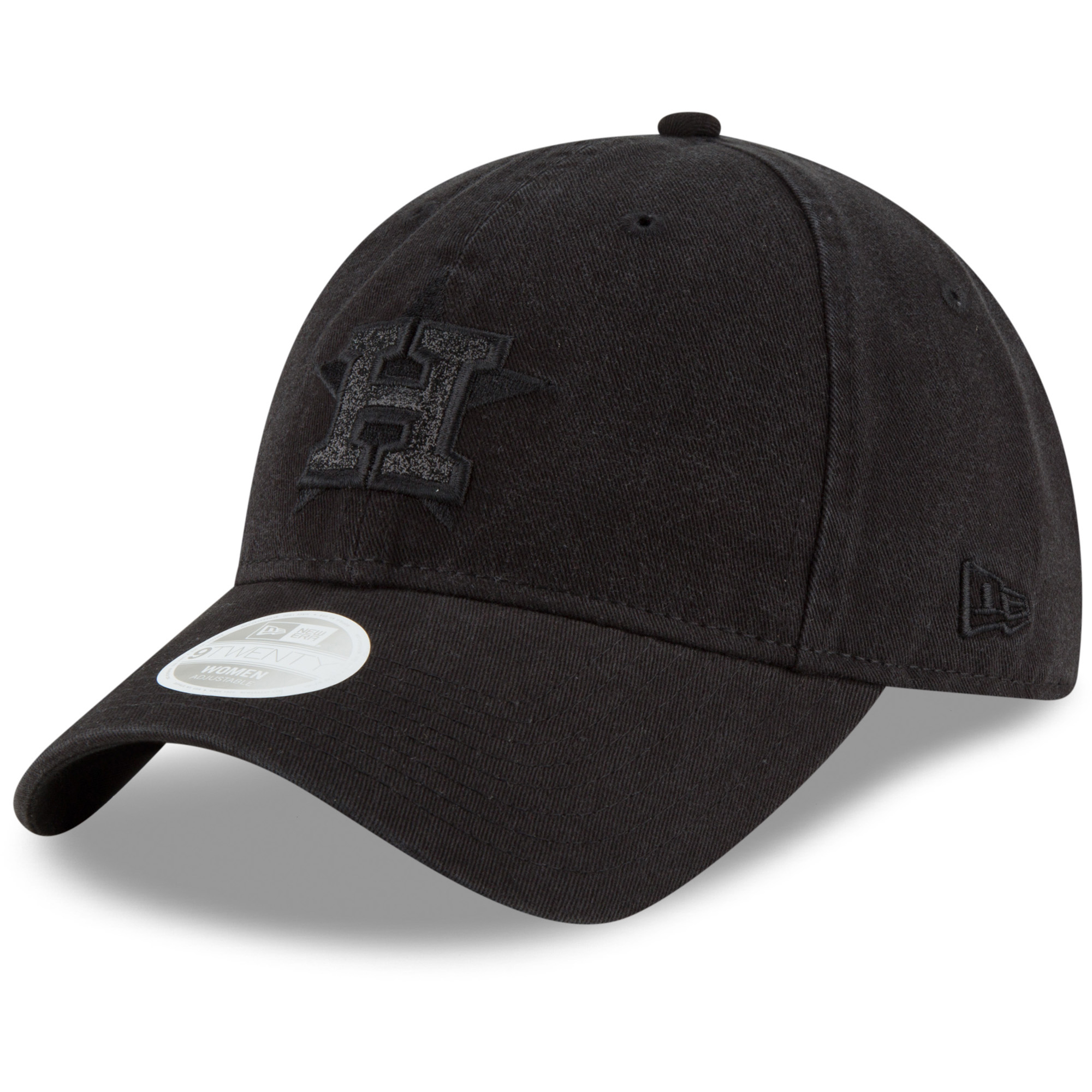 Houston Astros New Era Women's Team Logo Glisten 9TWENTY Adjustable Hat - Black - OSFA