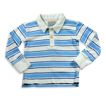 Girls Striped Polo - Gold Rush Outfitters - Little Girls Long Sleeve Striped Polo BLUE / 4