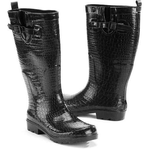 Women's Croco Embossed Rain Boots