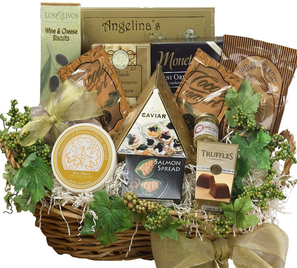 Savory Sophisticated Gourmet Food Gift Basket with Caviar, LARGE (Chocolate Option) by Art of Appreciation Gift Baskets