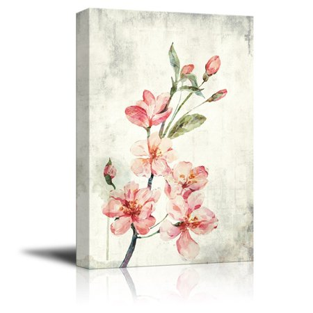 wall26 Canvas Wall Art - Watercolor Painting Style Pink Cherry Blossom on Branch - Giclee Print Gallery Wrap Modern Home Decor Ready to Hang - 16x24 inches - Giclee Cherry Blossoms