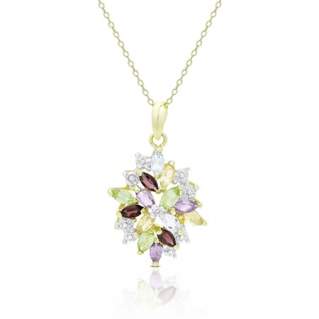 Dolce Giavonna  Gold Over Sterling Silver Multi Gemstone Cluster Necklace