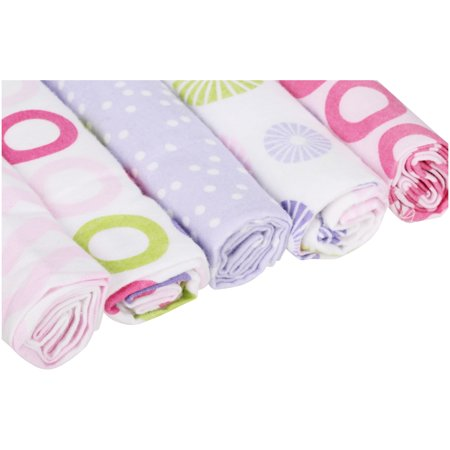 Luvable Friends Baby Boy and Girl Flannel Receiving Blanket, 5-Pack - Pink