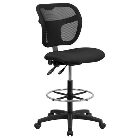 A Line Furniture Office Armless Black Mesh Curved Back Drafting Chair with Fabric Seat and Adjustable Chrome Foot Ring