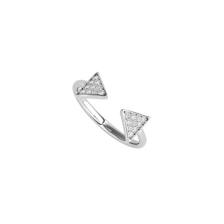 Free Art Style Diamonds Designer Ring in 14K White Gold - image 2 de 2