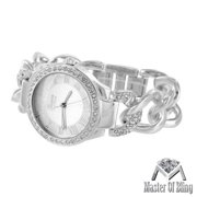 White Gold Plate Watch Womens Platinum Silver Lab Created Cubic Zirconia Cuban Bracelet
