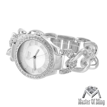 White Gold Plate Watch Womens Platinum Geneva Silver Lab Created Cubic Zirconia Cuban Bracelet