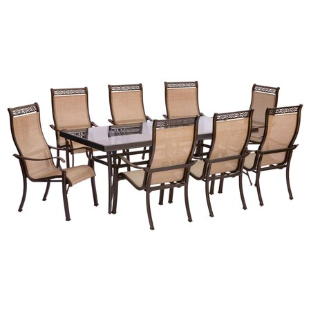 "Image of ""Hanover Outdoor Monaco 9-Piece Sling Dining Set with 42"""" x 84"""" Glass-Top Table and 8 Stationary Chairs, Cedar"""