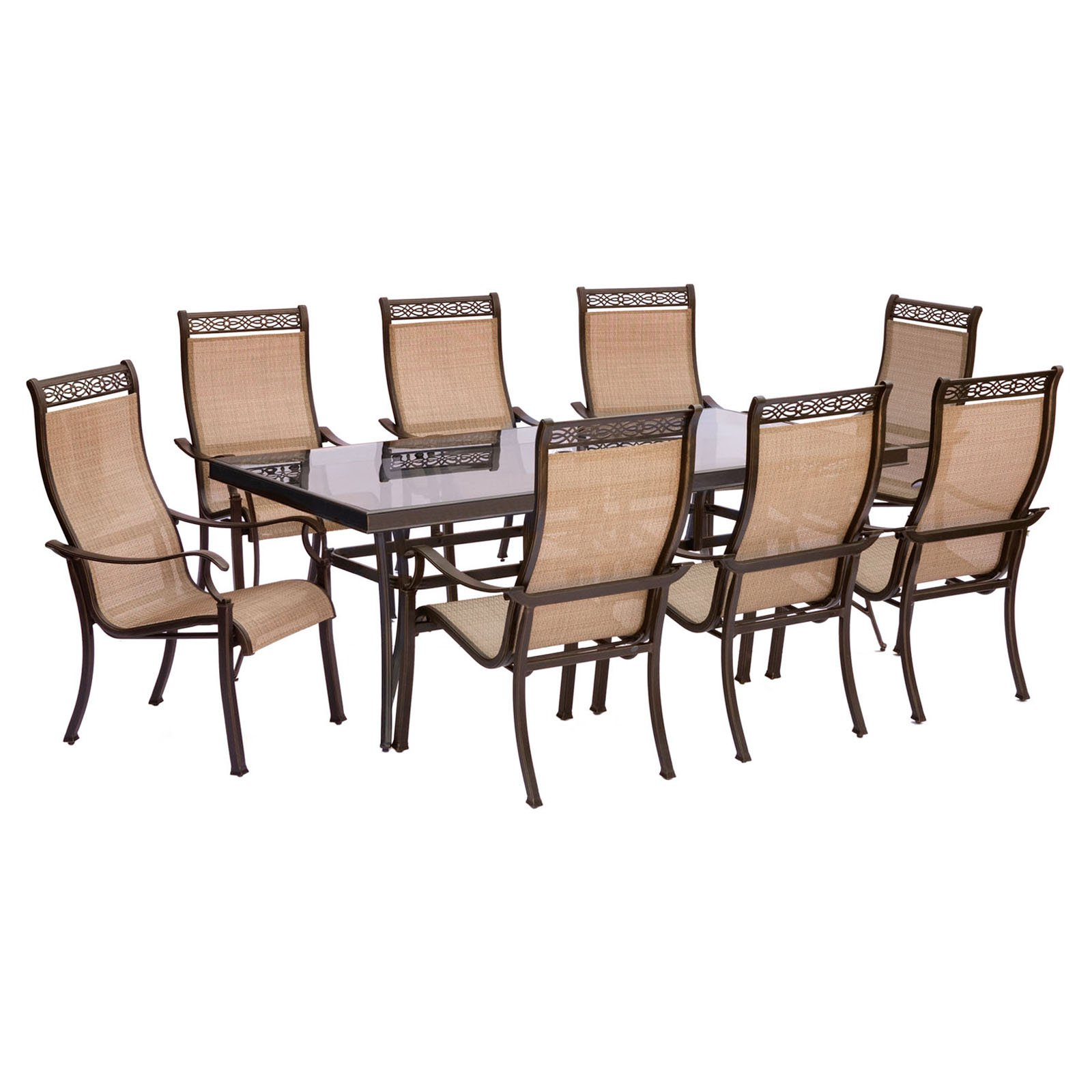 "Hanover Outdoor Monaco 9-Piece Sling Dining Set with 42"" x 84"" Glass-Top Table and 8 Stationary Chairs, Cedar"