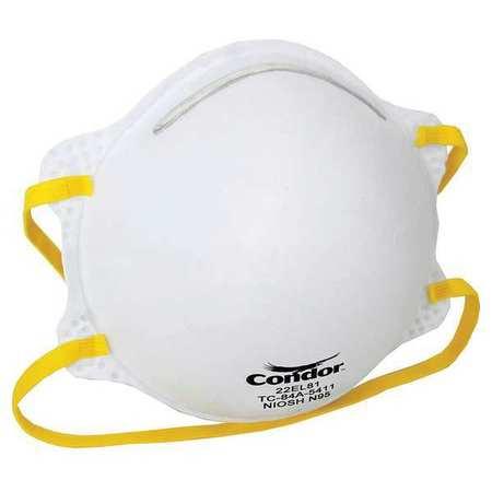 CONDOR Disposable Respirator,N95,Universal,PK20 22EL81