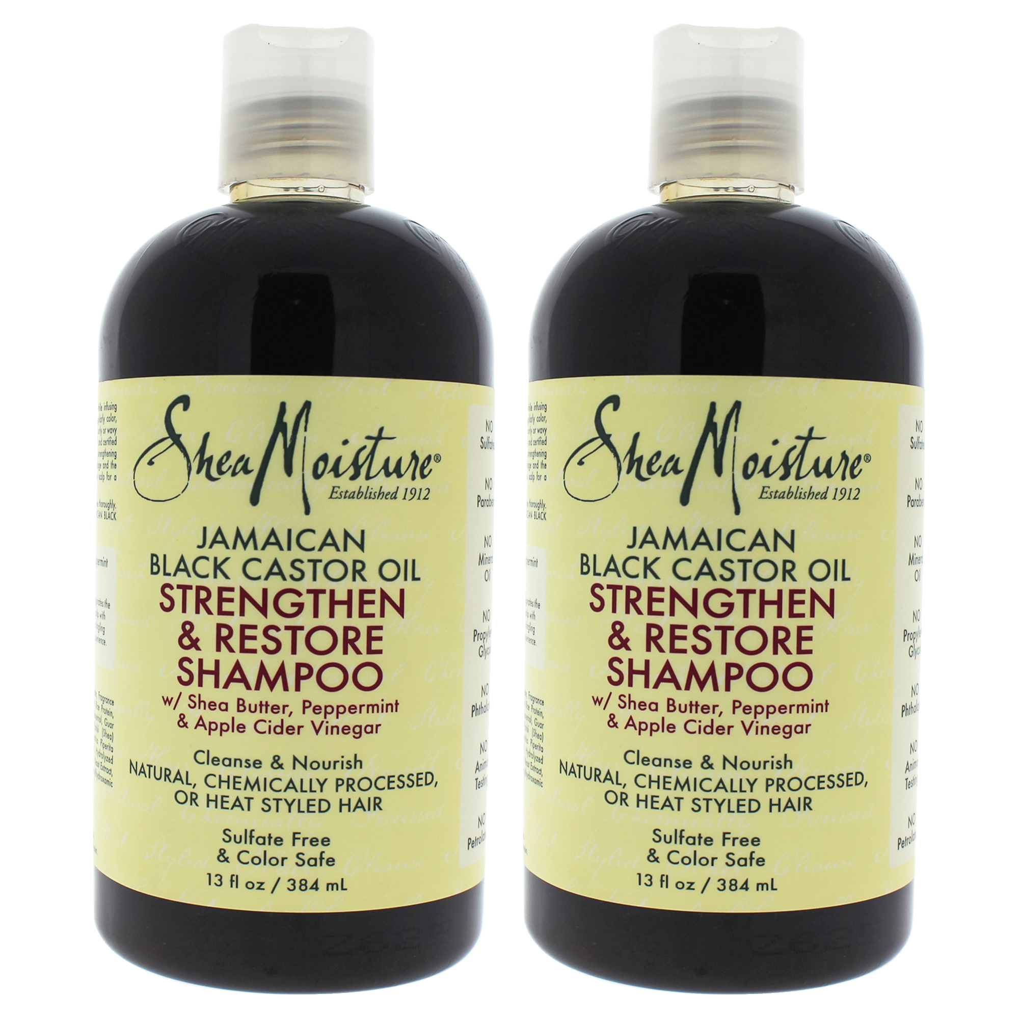 Jamaican Black Castor Oil Strengthen, Grow And Restore Shampoo by Shea Moisture for Unisex - 13 oz Shampoo - Pack of 2
