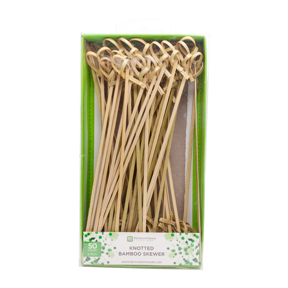 "Restaurantware RetailRWB0132-1 RETAIL PACK Knotted Skewer 6"" 50 count box Cocktail Picks, Natural"