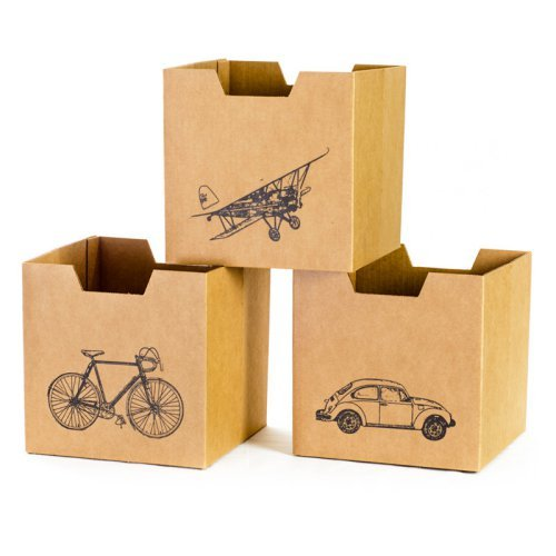 Sprout City Print Cardboard Cubby Bins - 3 pack