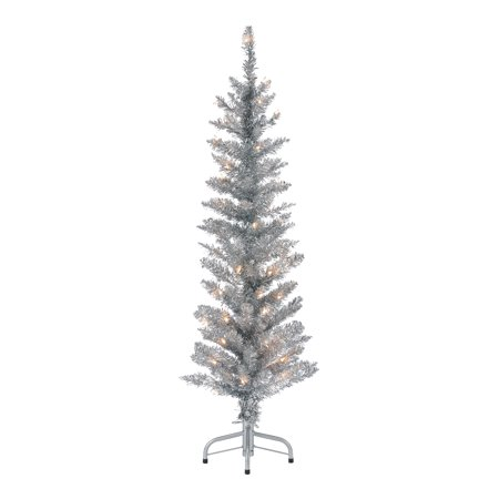 Holiday Time Pre-Lit Silver Tinsel Christmas Tree, 4', Clear ()