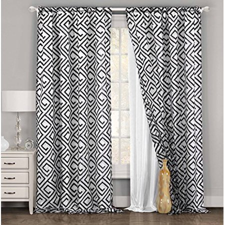 "Single Panel (1) White and Black Window Curtain for Living Rooms: Geometric Design, Double Layer, Pole Top, Extra Wide 54""W x 84""L (White and Black)"