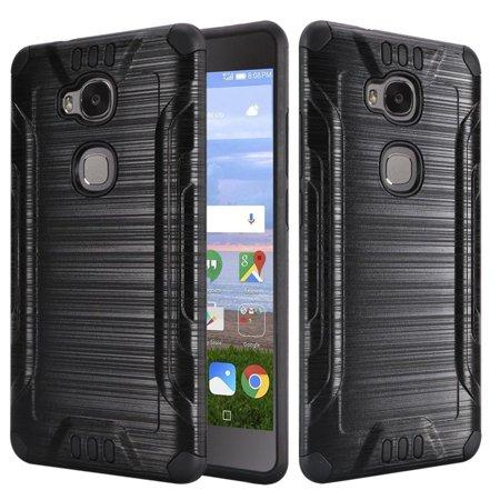 Insten Brushed Metal Design Hybrid Slim Armor Hard Plastic/Silicone Cover Case for Huawei Sensa LTE - Black